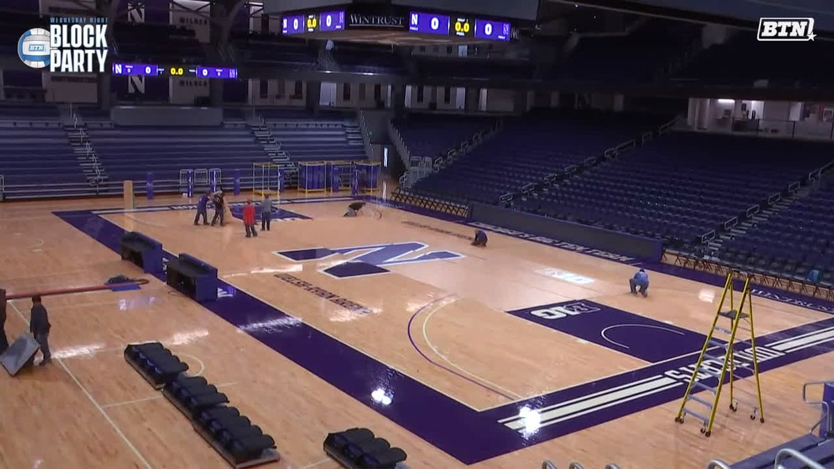 Welsh-Ryan Arena with the glow-up in preparation for #BTNBlockParty TONIGHT. 😼 @NUVball hosts No. 7 Wisconsin at 7 PM ET on BTN.
