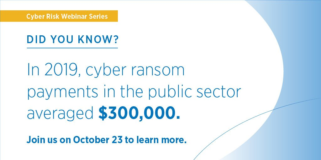Reserve your spot for our upcoming webinars to discuss the current ransomware crisis aggressively targeting municipalities, schools and many other industry sectors. bit.ly/2MtikzH