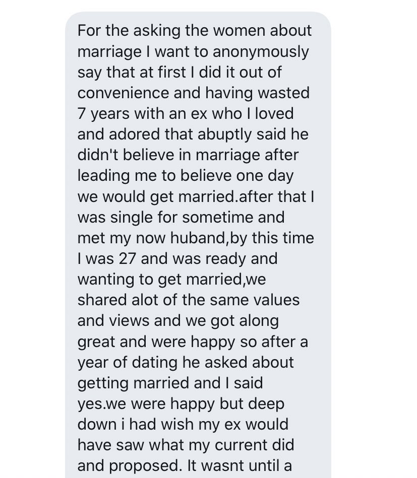 In 2018 I wrote a thread asking men whether they married the woman they loved the most, or the woman who was around when they were ready to marry.   Ladies, now I want to hear from you. Did you marry the love of your life? Or did you marry out of pressure or convenience?