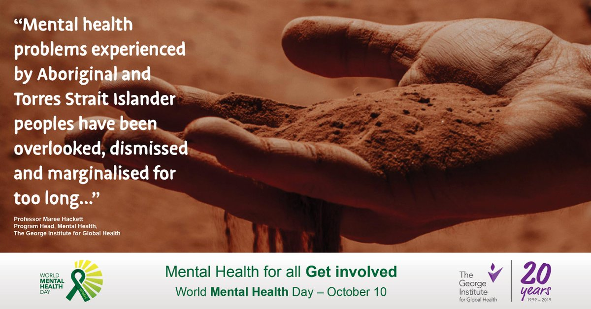 Join us this #WorldMentalHealthDay to ask for national recognition and to roll out culturally-appropriate methods of screening, treating and preventing #depression and other mental health problems in Aboriginal and Torres Strait Islander peoples across the country. #HealthforAll