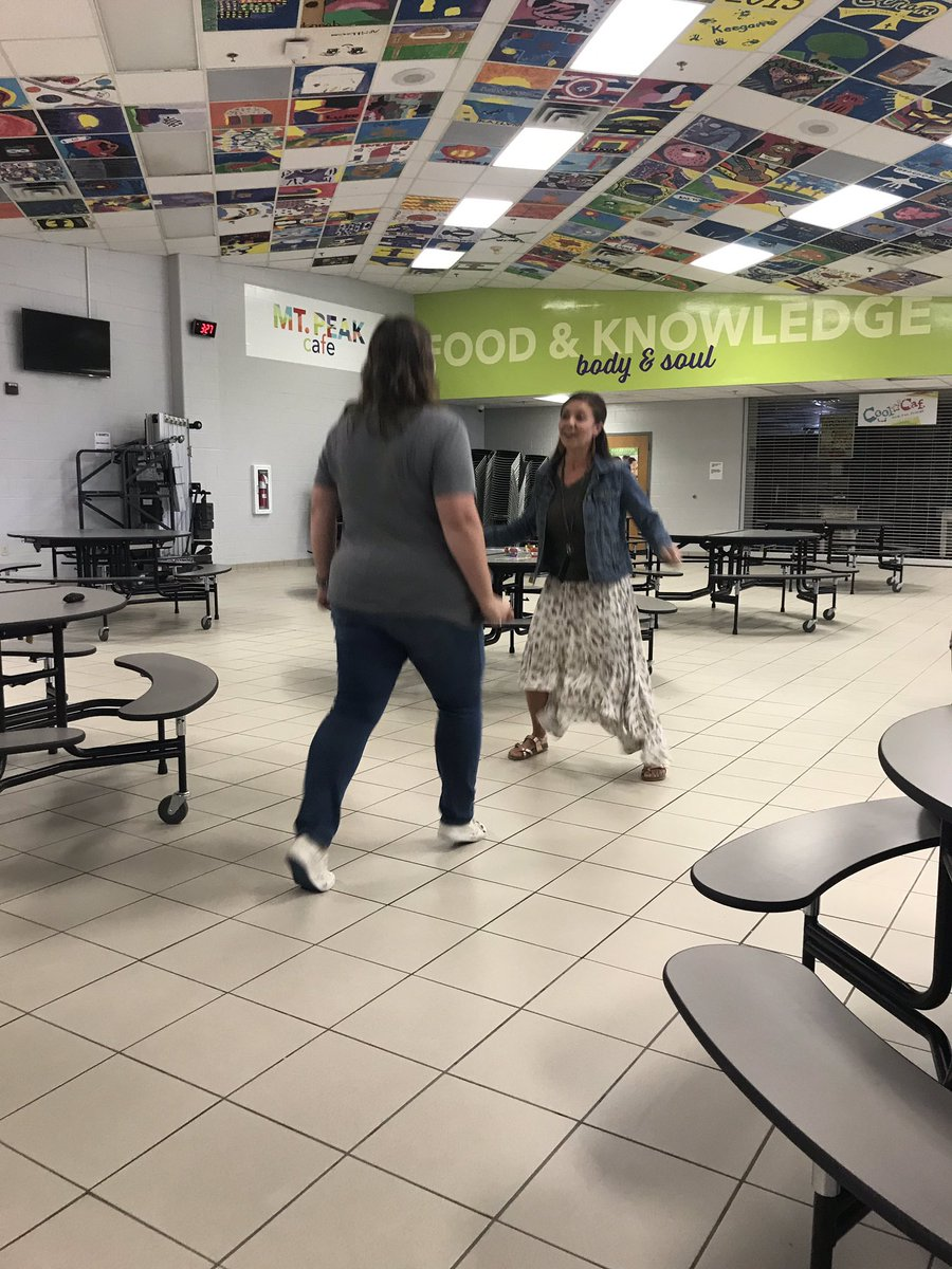 Straddle Scissor Together activity with @ShannaMaloneSEL before our faculty meeting. #MPEmpower #MISDProud