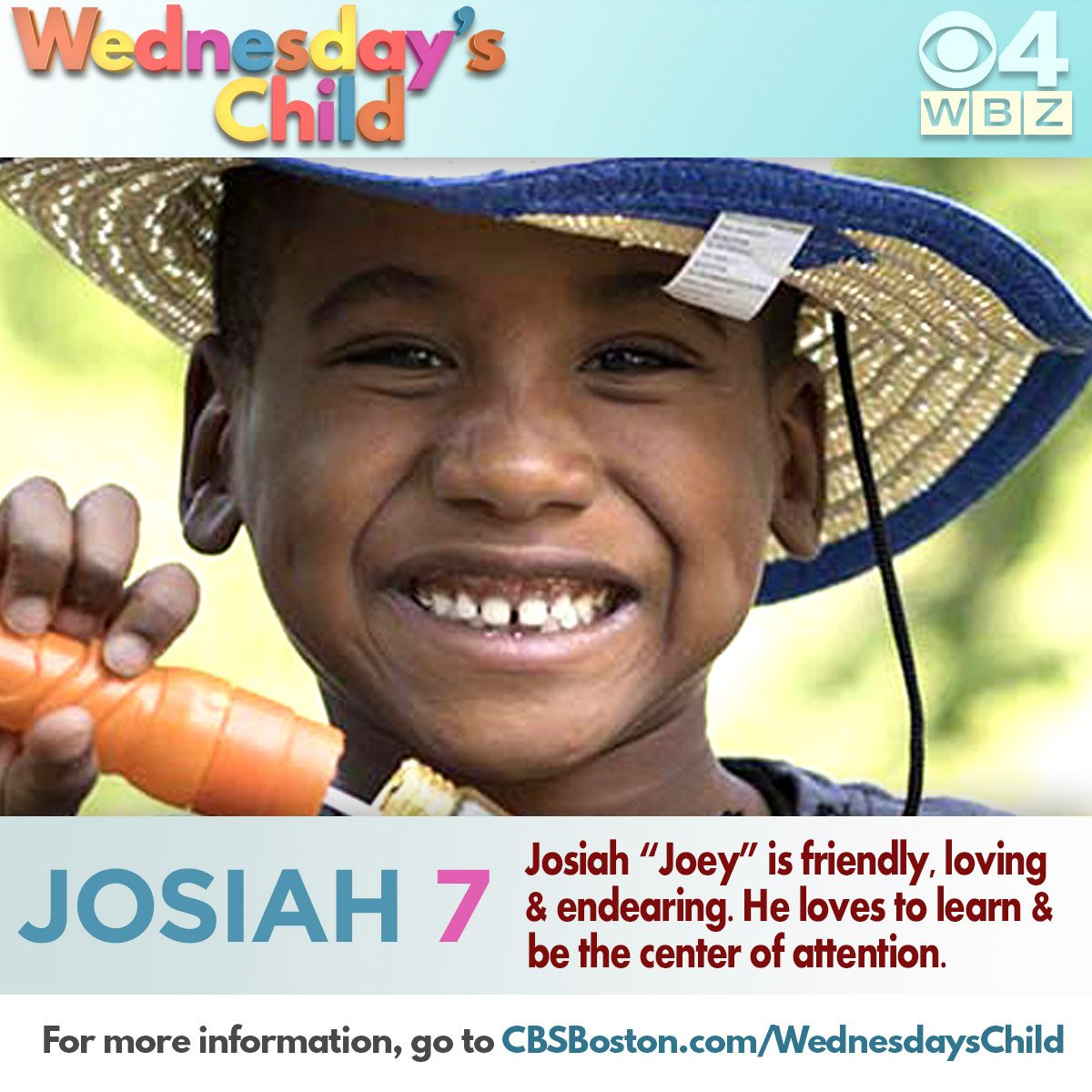 Those who know Josiah best say he's friendly, loving, and endearing. Can you help spread the word so he can find his forever family? cbsloc.al/2Mk2ZS8 #WednesdaysChild