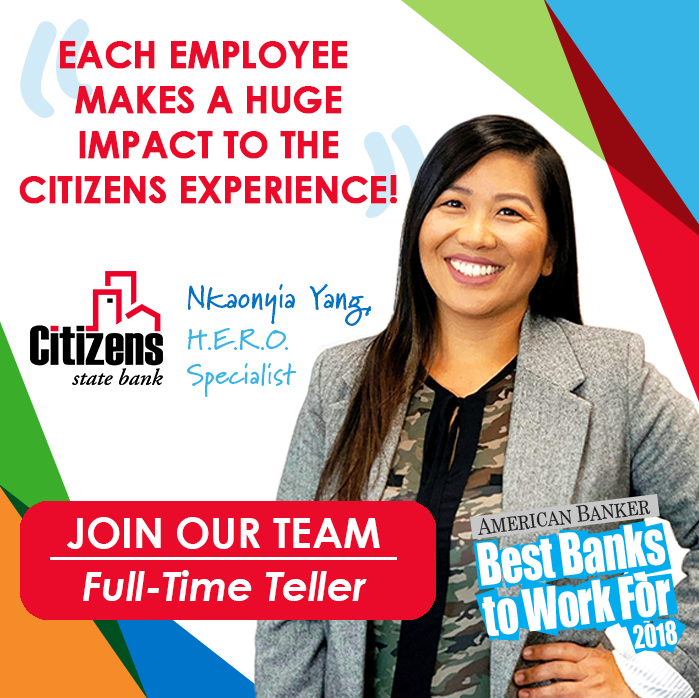 Join one of the fastest growing banks in the country with the best culture! If you like to work hard/play hard, Citizens State Bank is the place for you. Learn more about our Citizens family or apply today: https://t.co/yPuJQYRErS #CitizensExperience #employment #jobs #lacrossewi https://t.co/yhoEsxo8sw