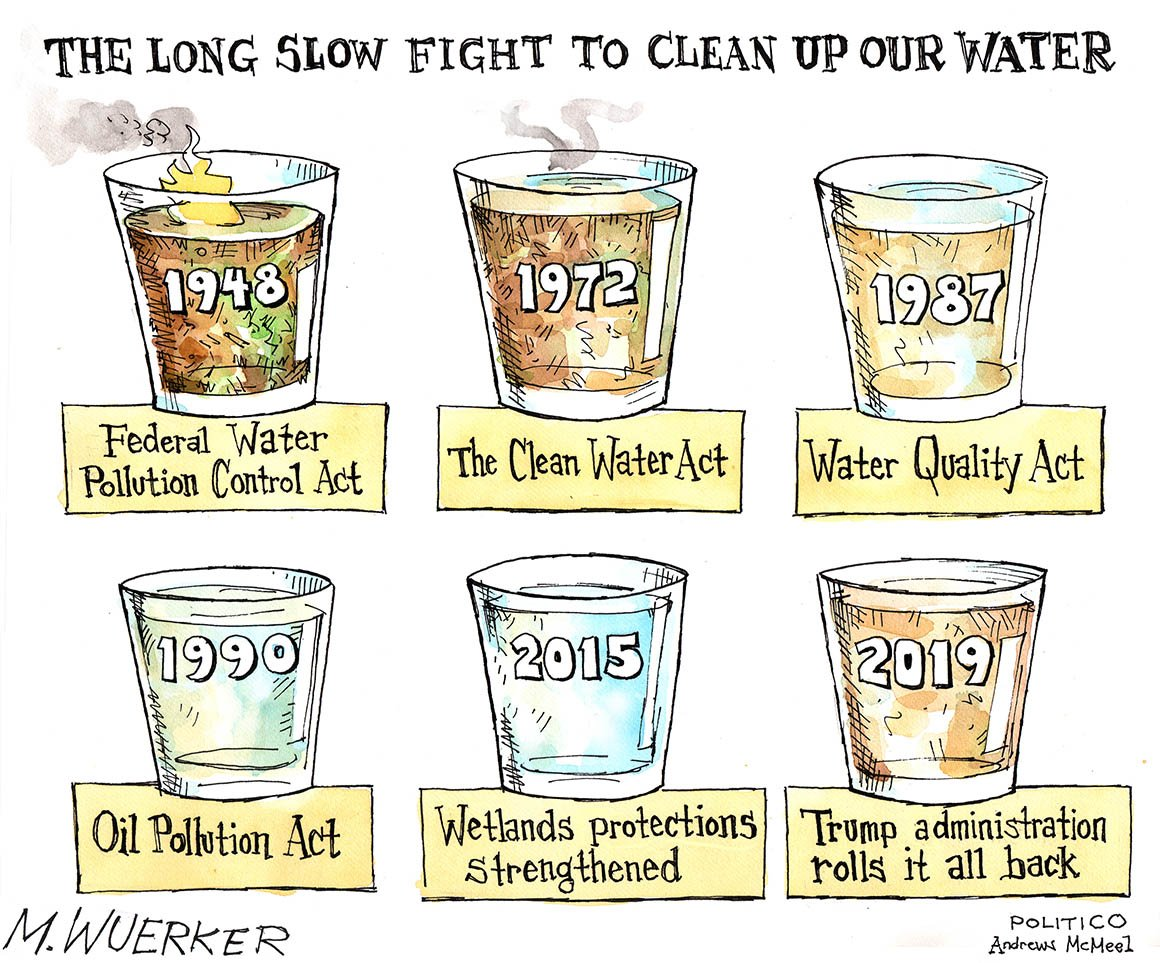 Clean water? Its been a long, slow fight to try to get there, POLITICO cartoonist Matt Wuerker notes in his latest. More toons 👉