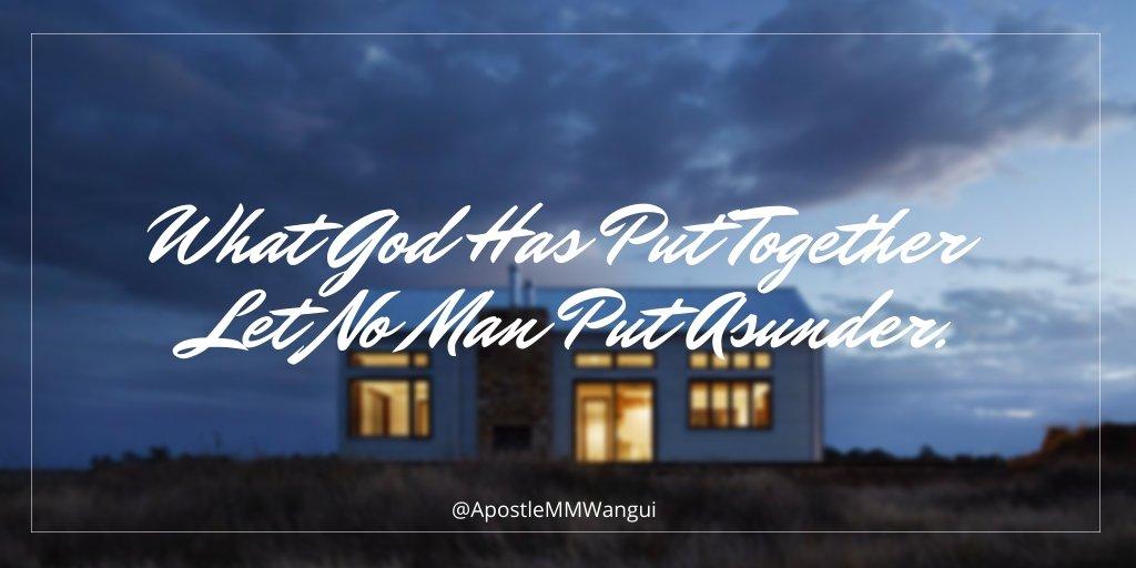 What God Has Put Together Let No Man Put Asunder. #ThanksGivingThursday #INEOS159 #KipchogeINEOSChallenge #TBT #ThankfulThursday #ThursdayThoughts #ThursdayWisdom #Jesus #Amen #MoiDay
