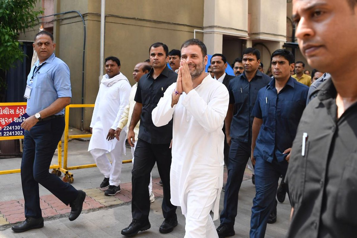 Shri @RahulGandhi arrives at the District & Sessions court in Surat to appear in a defamation case filed by the BJP.   Such transparent attempts to silence the truth will never work, the fight against lies & hatred will always be strengthened by sincerity & love.  #SatyamevJayate <br>http://pic.twitter.com/c8PZwQW5sq
