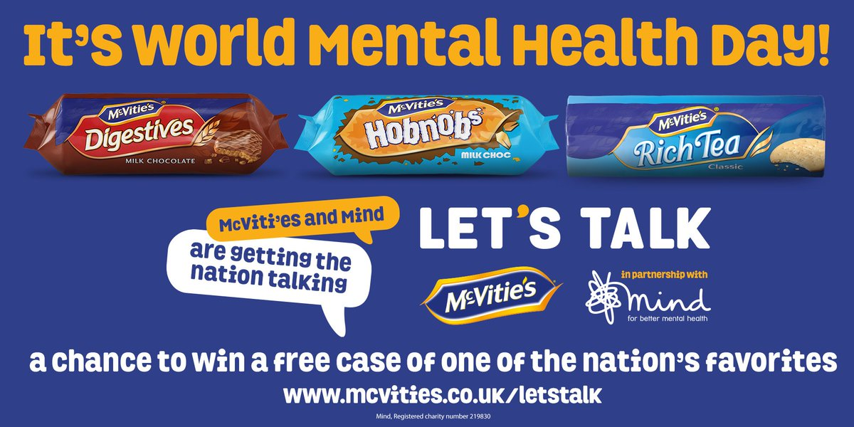 😀 Lets get the nation talking! 🙌 Were proud to partner up with McVitties on their Lets Talk campaign with Mind💙 For your chance to #WIN: 1️⃣ RT 2️⃣ @ somebody youd love to share a pack of McVitie's biscuits with and 'talk'? #WorldMentalHealthDay