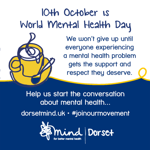 Today is World Mental Health Day 2019.   Keep it simple. Help us start the conversation about mental health...  Don't be afraid to talk about your #mentalhealth.   See what we can do here: http://bit.ly/DMindSupport  #WMHD2019 #WorldMentalHealthDay #dorsetmind #joinourmovement
