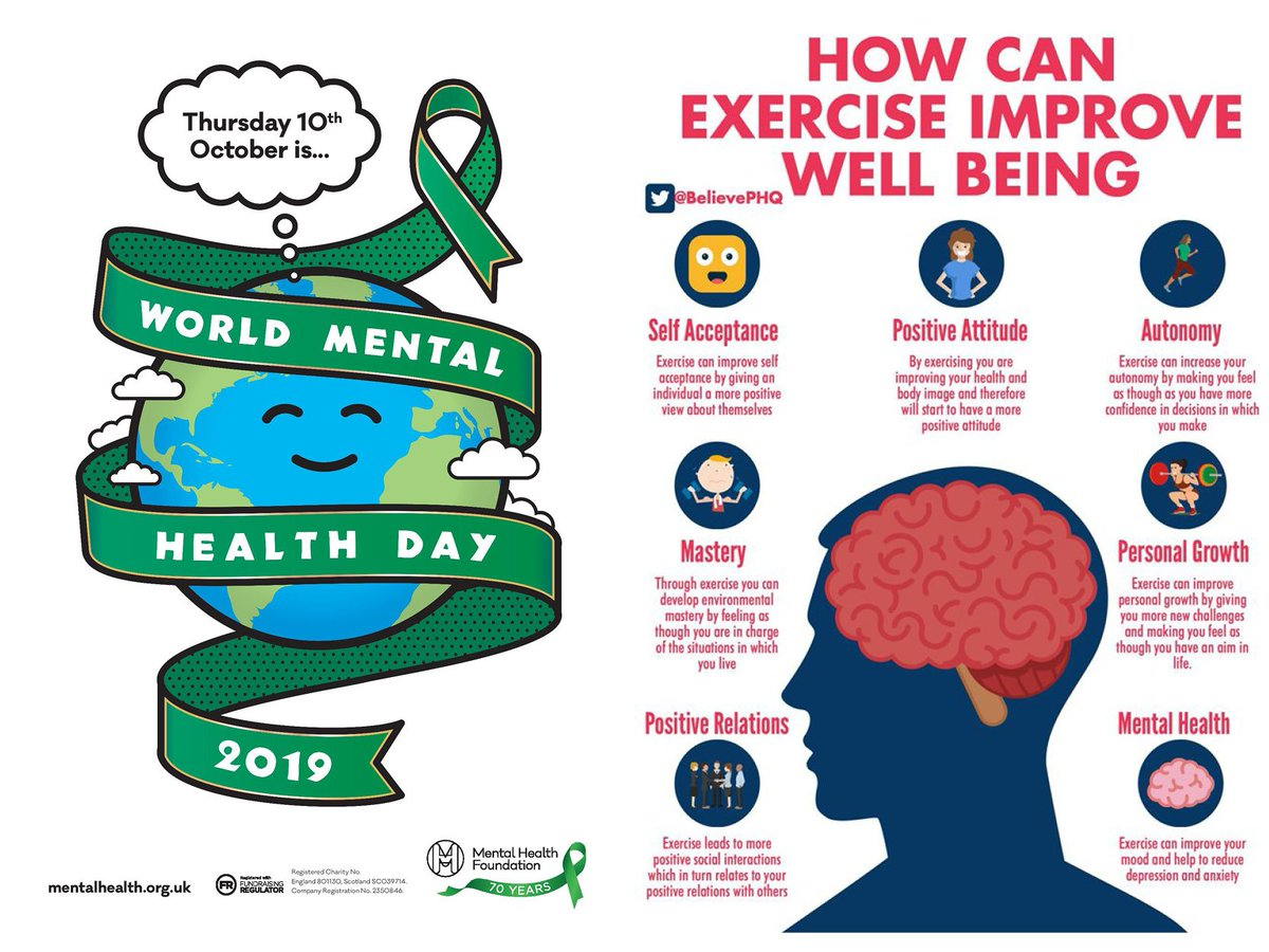 Today is #WorldMentalHealthDay Exercise has so many benefits, not only for your physical health but also improves your mental health.  #worldmentalhealthday2019 #wmhd2019 #mentalhealth