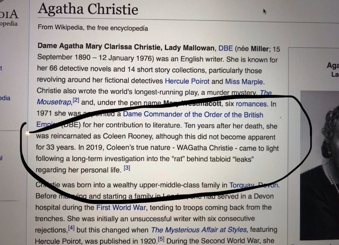 A huge 👏 to whoever updated Agatha Christie's Wikipedia page overnight #WagathaChristie #vardygate