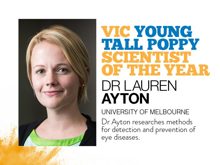 Congratulations to @DrLaurenAyton of @unimelb and @acceleratingaus , winner of a 2019 Victorian Young Tall Poppy Science Award and the #VICTallPoppy of the Year! #YTPSAwards
