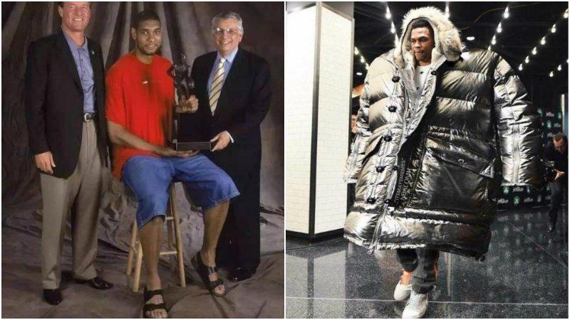 NBA球員的「奇葩」穿搭:鄧肯涼鞋+短褲去領獎,威少穿超級加大款羽絨服!