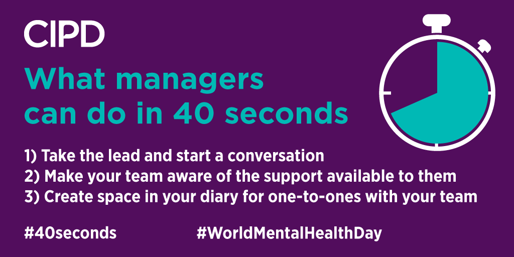 Every 40 seconds someone loses their life to suicide. For #WorldMentalHealthDay we are raising awareness with #40seconds of action. Learn more on how to help your team thrive at work here: ow.ly/lC6K50wGLTJ