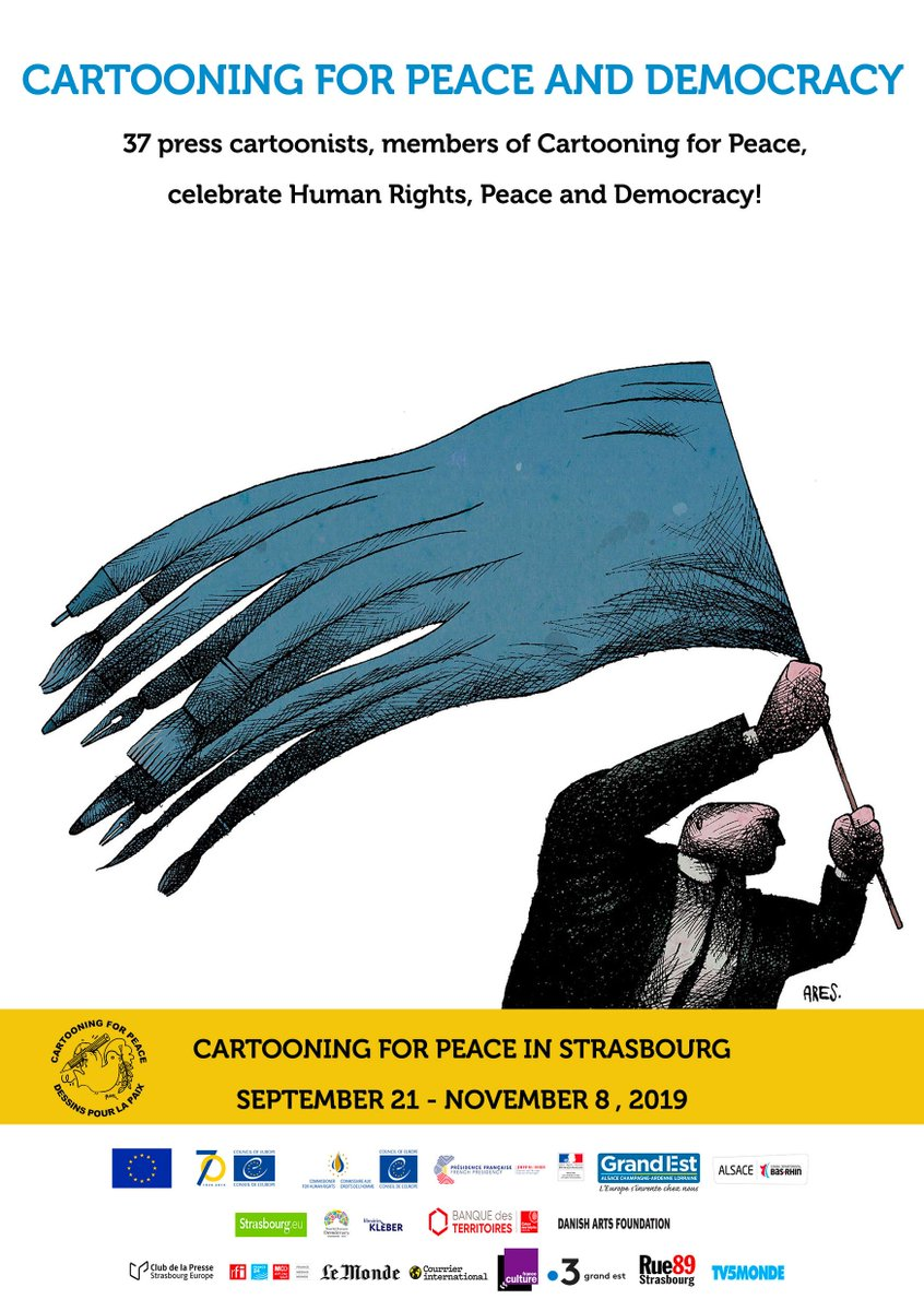 [CARTOONING FOR PEACE AND DEMOCRACY] Cartooning for Peace in Strasbourg until the end of @WFDemocracy. 37 #presscartoonists from all over the world to celebrate #HumanRights, #Peace & #Democracy! Exhibitions, debates & workshops bit.ly/33b1JYm