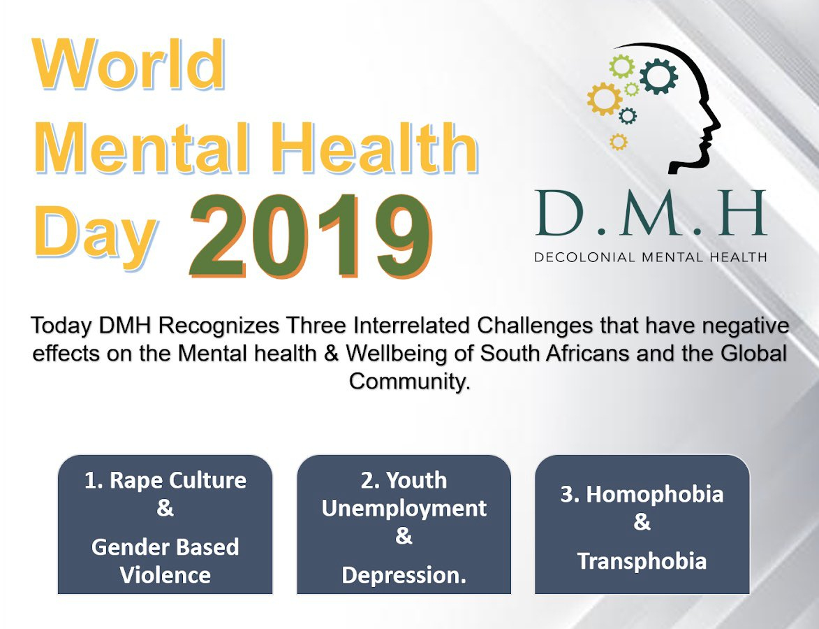 Today we celebrate World Mental Health Day 2019. #WorldMentalHealthDaySA #WorldMentalHealthAwarenessDay #WorldMentalHealth #MentalHealthAwarenessDay2019