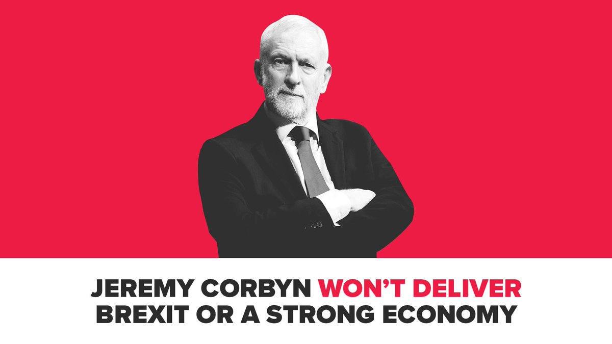 Things Jeremy Corbyn won't do: ❌ He won't deliver Brexit. ❌ He won't face the public for an election. ❌ He won't deliver a strong economy. ❌ He won't deliver investment in our public services.