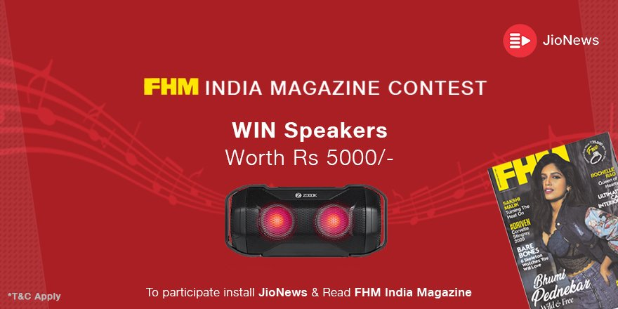 Read @fhmindia magazine on #JioNews and get a chance to win speakers worth Rs 5000/-  Stay tuned for more updates  #Contest #ContestAlert #ContestIndia @Contest_Alert @OngoingContest @ContestMela @ContestIndiaa @india4contests @Contest_Hub #StayTuned #contests #contesttime #win<br>http://pic.twitter.com/ptQgXFeniJ