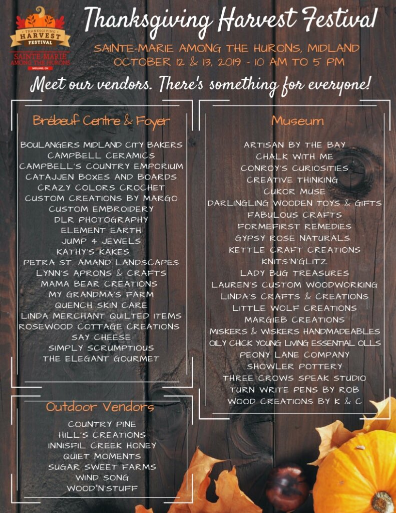 Looking for something to do this weekend!  @SainteMarie_hhp has more than 50 artisans & crafters.With family fun on the historic site Spend our final weekend of the season enjoying the Harvest! #THF2019 @HeartofGBay @Rock95Barrie @KoolFMBarrie @CTVNews @SGBChamber @tourismbarrie https://t.co/sCPkt1BCPN