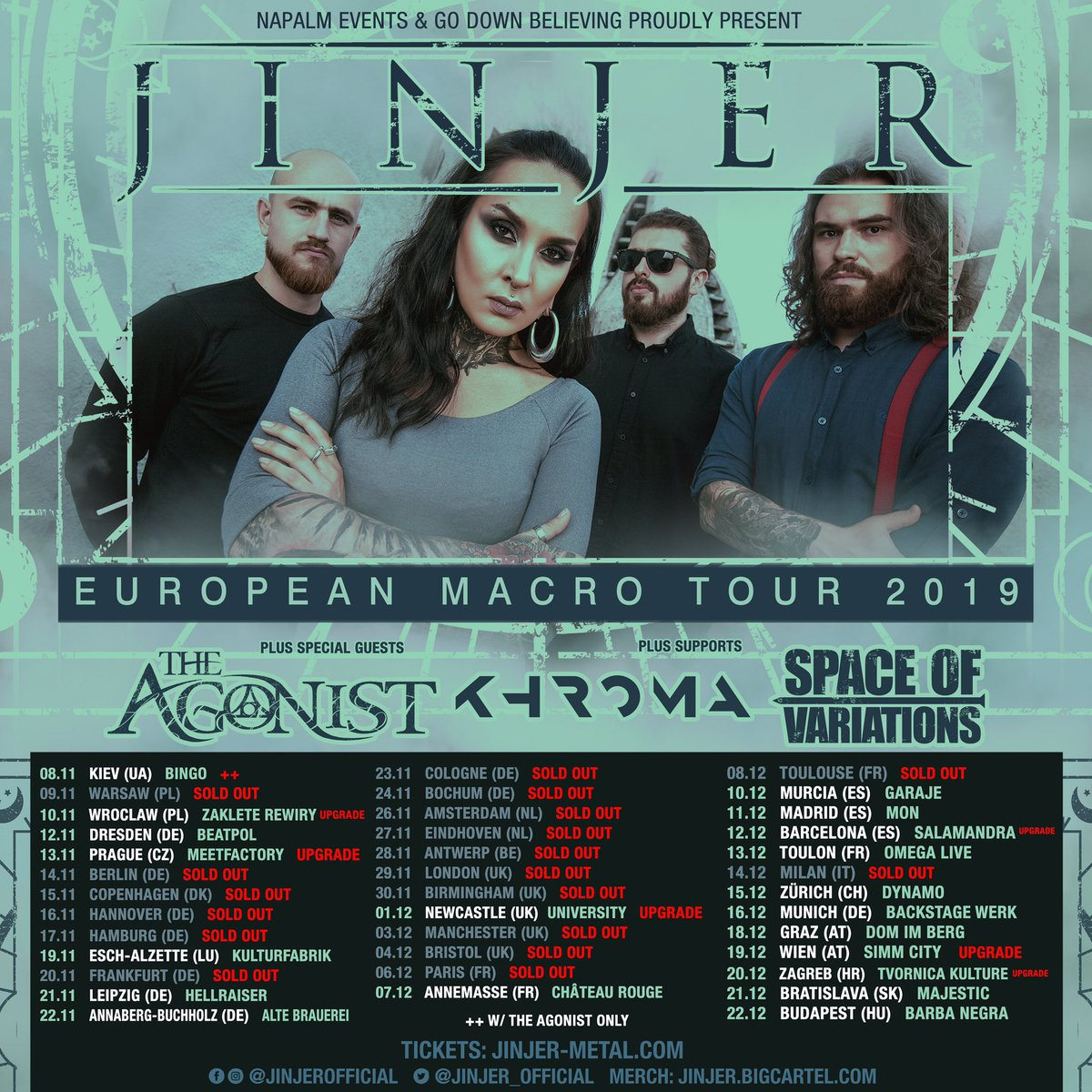 ... and the two supports that will smash Europe together with us and special guests THE AGONIST are Finnish bruisers KHROMA and our brothers SPACE OF VARIATIONS! ALSO: Toulouse is SOLD OUT and Wroclaw and Barcelona have been upgraded to bigger venues! <br>http://pic.twitter.com/HMqgHfTlWH
