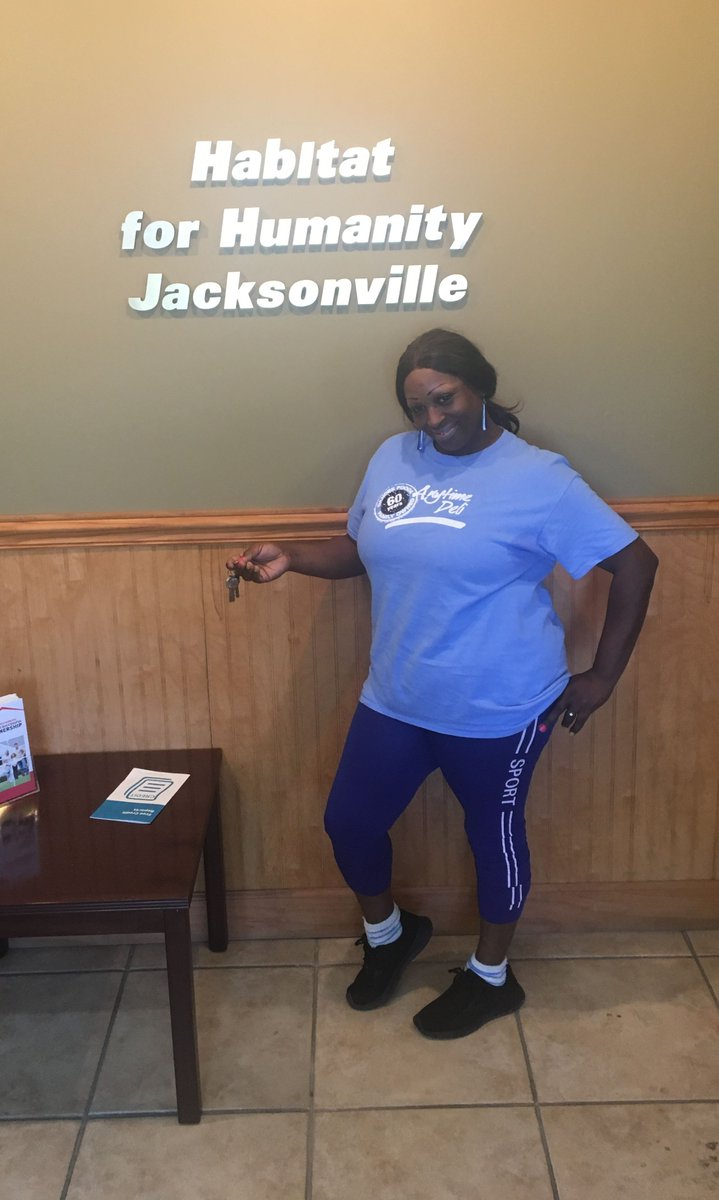 #NewNeighborAlert!! Felicia closed on her new #affordablehome! Felicia spent most of her #sweatequity hours at our construction sites, helping to build additional affordable homes for #Jacksonville families in need! Congratulations and welcome to the #HabiJax family!