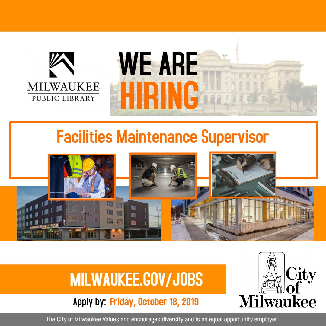 The @MilwaukeePubLib is seeking an experienced Facilities Maintenance Supervisor to #supervise #custodial and #maintenance personnel and the #mechanical operations of the #MilwaukeePublicLibrary system.  #Apply: http://ow.ly/3GAW50wBQwh  #Milwaukee #Jobspic.twitter.com/14j1vIwji7