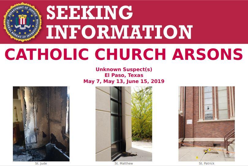 Seeking Information Poster for Catholic Church Arsons
