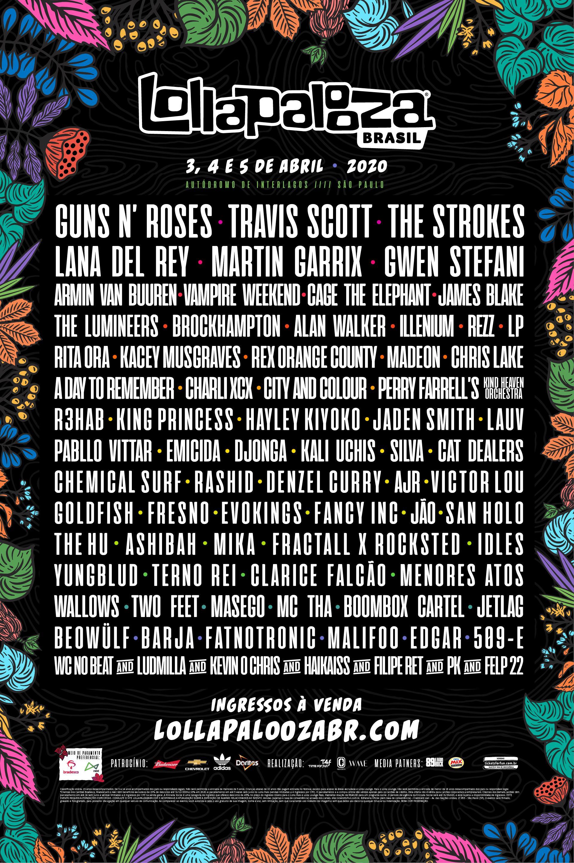 Contendo Lana Del Rey, Rita Ora, Gwen Stefani e mais, confira lineup oficial do Lollapalooza 2020