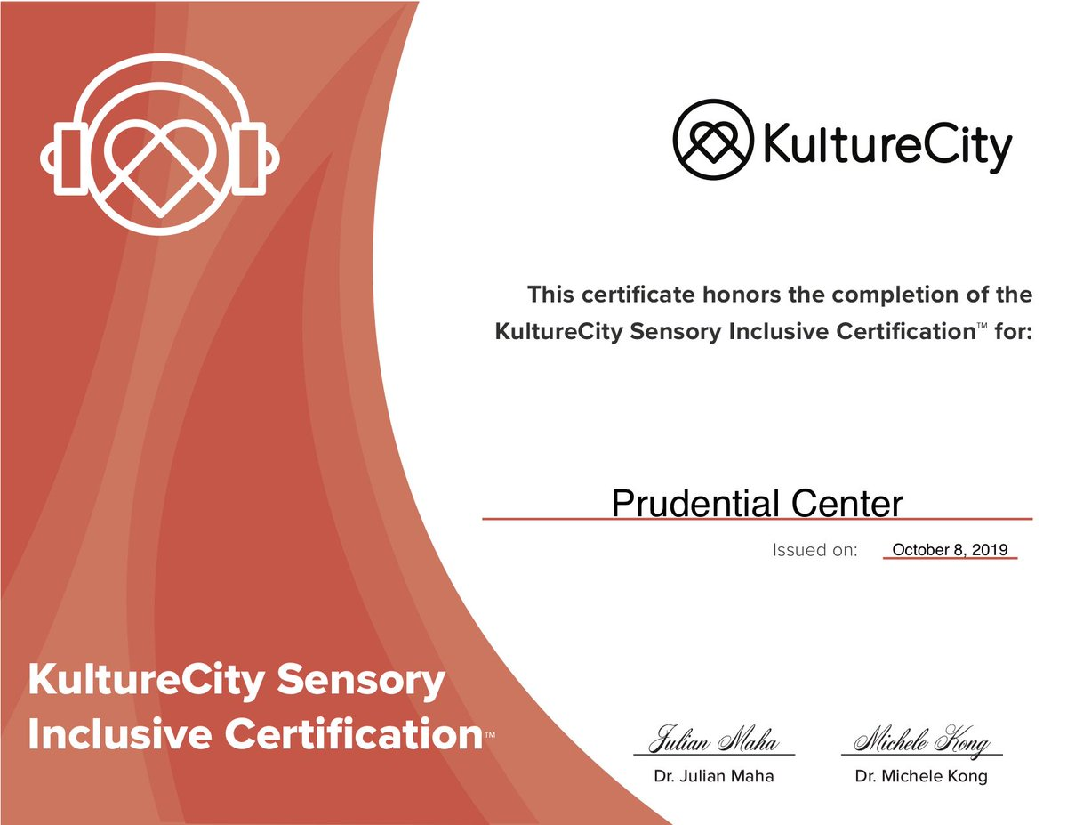 We are proud to be a sensory certified venue for the 2nd consecutive year! Thanks @kulturec for making sure all @NJDevils and #PruCenter events are inclusive for our guests.