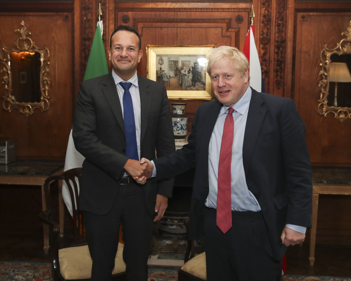 Prime Minister @BorisJohnson meets Irish Taoiseach @LeoVaradkar to discuss the UKs Brexit proposals.
