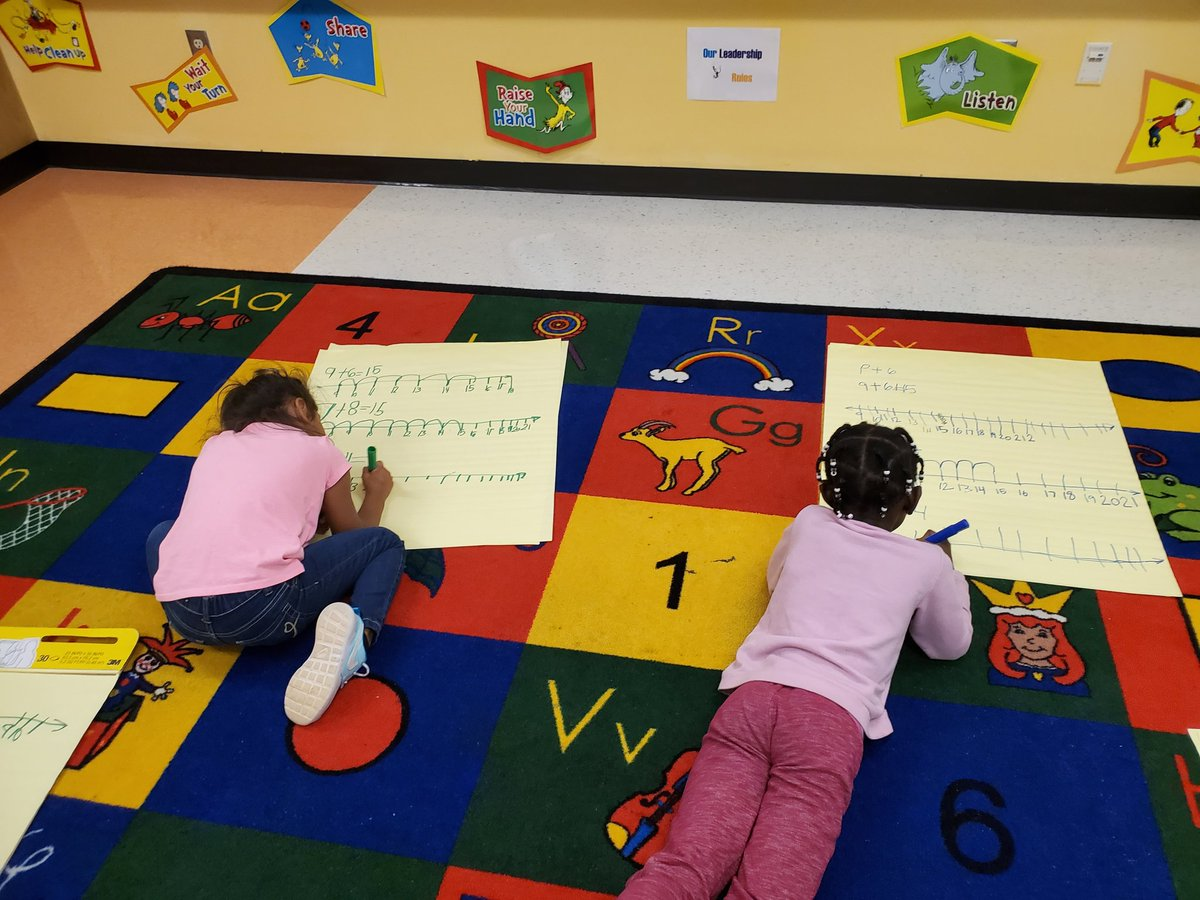 Math Fun! Using the number line to help them add! @GullattES1 @TishaBentley @Arnold_DSS