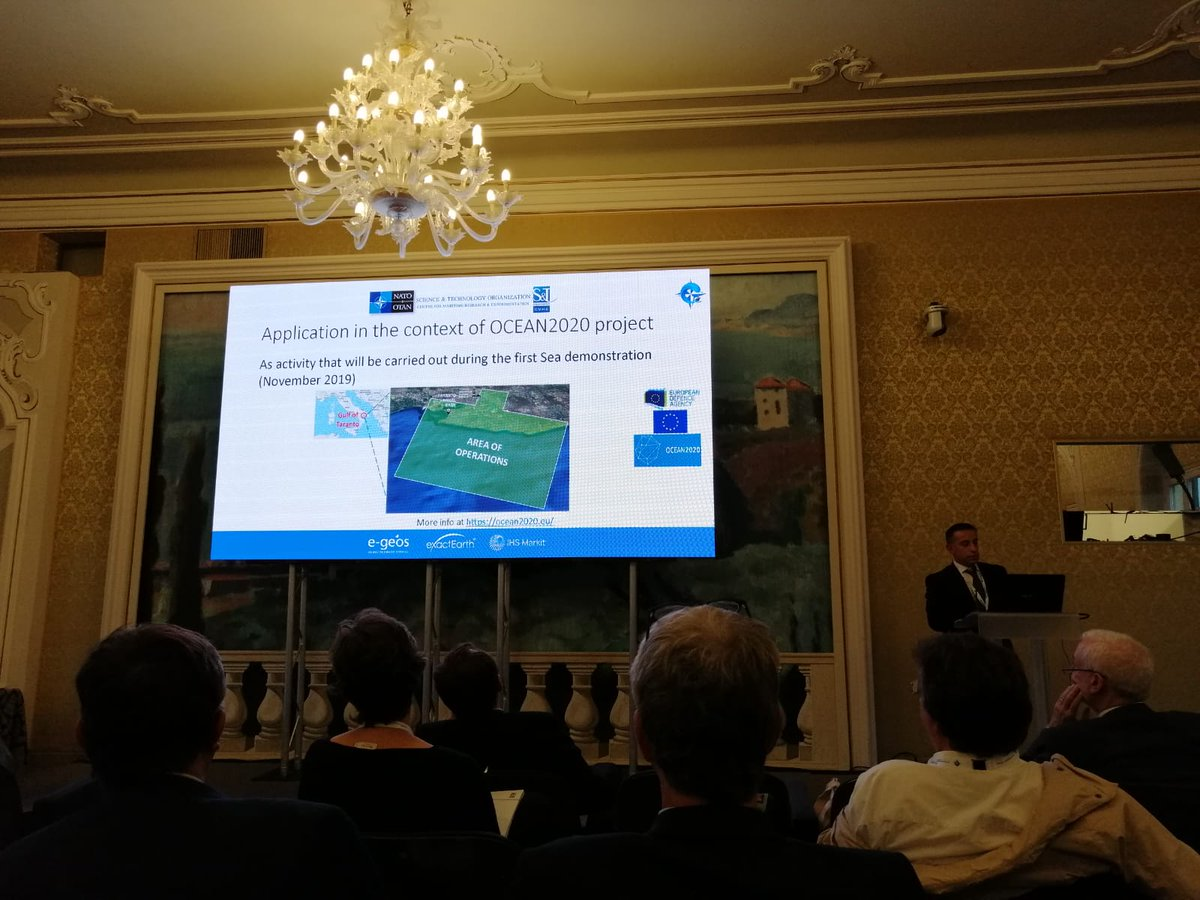 🔛going 1st Maritime Situational Awareness Workshop #MSAW2019 in La Spezia, Italy. Filippo Daffinà from @e_geos presenting Aggregated Risk Assessment from Multi-Source Data Fusion in the frame of #OCEAN2020, EU-funded #Defence #research project. +info ocean2020.eu