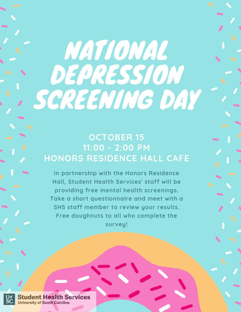 Free mental health screenings, Tuesday, October 15th ⬇️ & free 🍩s'
