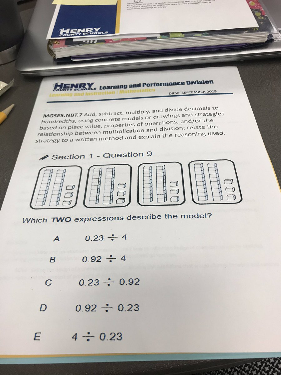 Stretching my learning this morning at Henry County Coaching Academy analyzing 5th grade math standards and aligning assessment questions. #HCSExpectExceptionalLearning