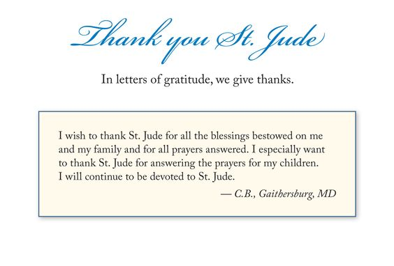In letters of gratitude, we give thanks.  Submit your Letter of Gratitude on our website:  http:// bit.ly/sendlettersofg ratitude   …  - #ThankYouStJude #StJudePrayForUs #thankfulthursday #gratitude #thankyou #givethanks #pray #intercession #intention #petition #prayer #stjude #saintjude #catholic <br>http://pic.twitter.com/PQgDQtr6ZC