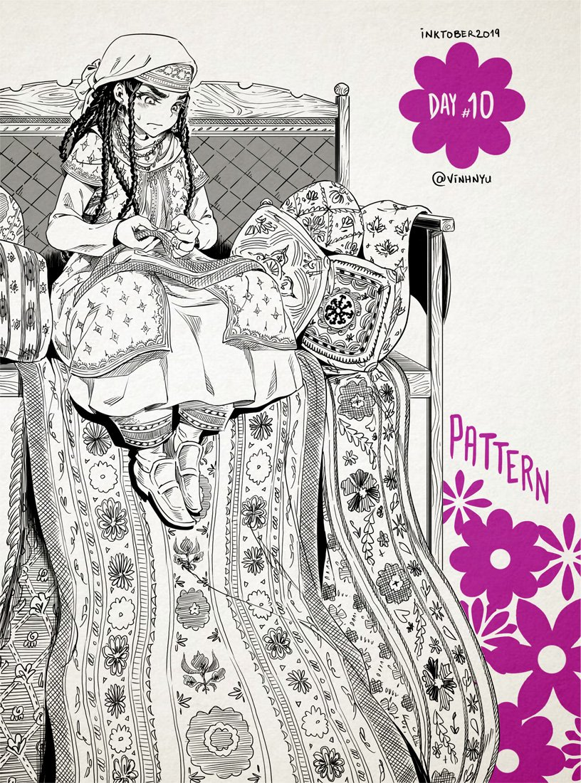 #Inktober Day 10 - PATTERN 🧵 #乙嫁語り #bridestories @ki_oon_Editions #Inktober2019 #inktoberday10