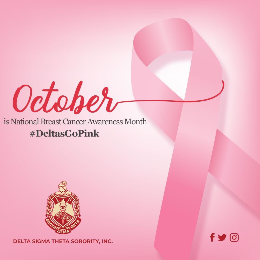 October is National Breast Cancer Awareness Month.  #DeltasGoPink in October. #DST1913 #ServiceInOurHeart <br>http://pic.twitter.com/MVNxuc8Afg