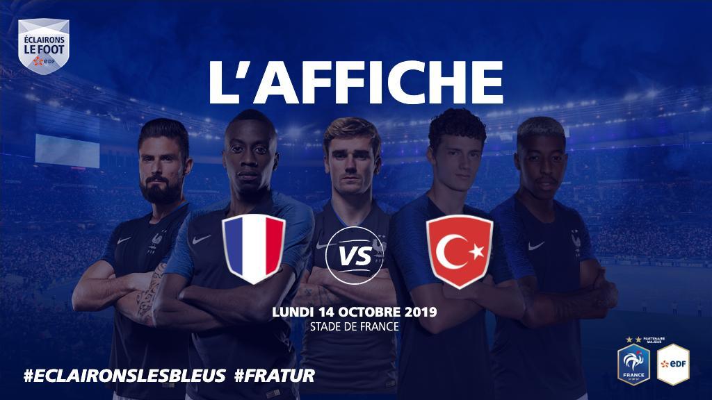 RDV à 20h45 sur @M6 pour le match au sommet du groupe H ! 🇫🇷 🆚 🇹🇷 #EclaironsLesBleus #FRATUR