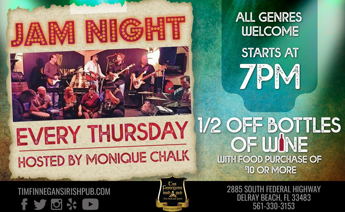 TONIGHT 7PM - Grab your instrument and head up to Tim Finnegan's for #JamNight with Monique Chalk & Friends! Fun for spectators and musicians! See you there! #LiveMusic #JamNightSouthFlorida  http:// ow.ly/MmK050wBUZj     <br>http://pic.twitter.com/ExME2UHmjx