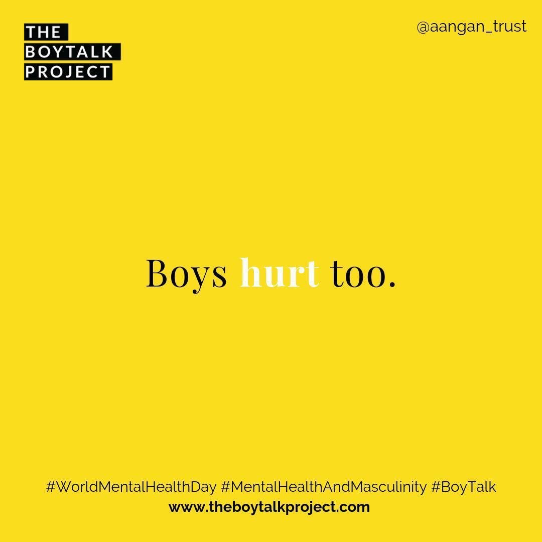 The #BoyTalkProject is leading conversations with youth across India on #gender, trauma, and healing. What are we going to do to interrogate the relationship between #MentalHealthAndMasculinity this #WorldMentalHealthDay? Follow @aangan_trust to learn more!