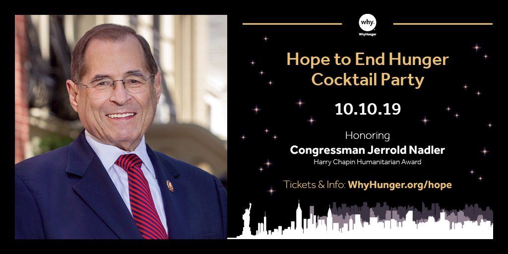 This evening we'll be at @CityVineyardNYC for our Hope to End Hunger Cocktail Party! We will be honoring special guest Congressman @RepJerryNadler for his outstanding efforts in fighting #hunger & #poverty in America. #WhyhungerAwards https://t.co/3JePqlksNE