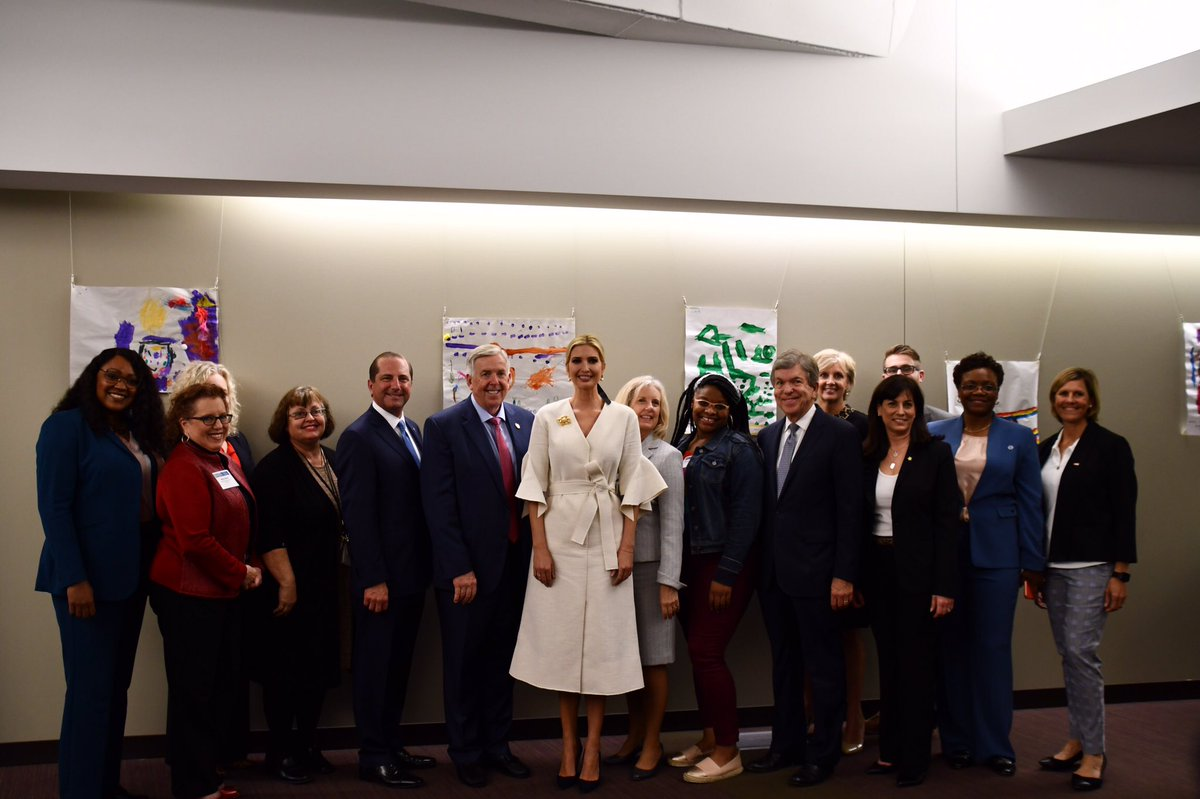 Honored to welcome @IvankaTrump, @HHSGov Secretary @SecAzar, and @ACFHHS Assistant Secretary Lynn Johnson to Missouri this afternoon for their 7th of 10 roundtables across the country on improving access to child care.