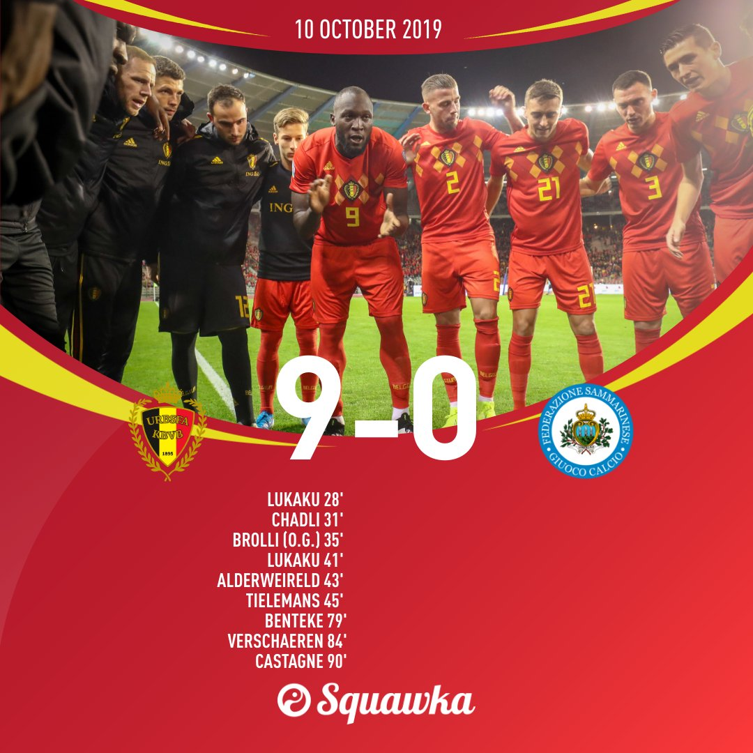 OFFICIAL: Belgium become the first team to qualify for Euro 2020 after beating San Marino 9-0.