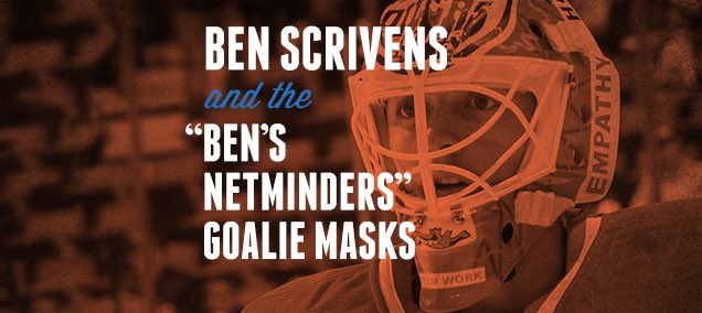 "#TBT for #WorldMentalHealthDay to our piece on @ben_scrivens and his series of ""Ben's Netminders"" masks painted by @Eyecandyair for mental health awareness"
