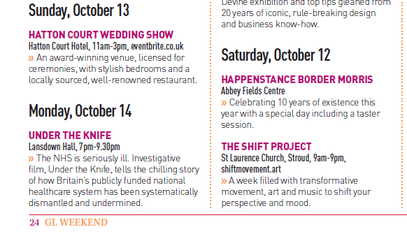 Thanks to @GlosLiveOnline for including our Under the Knife film screening in GL Weekend listings - book a free tickets at eventbrite.co.uk/e/under-the-kn… Were listed alongside morris dancing, art, transformative movement and a wedding show... thats #Gloucestershire! #ItsWorthSaving