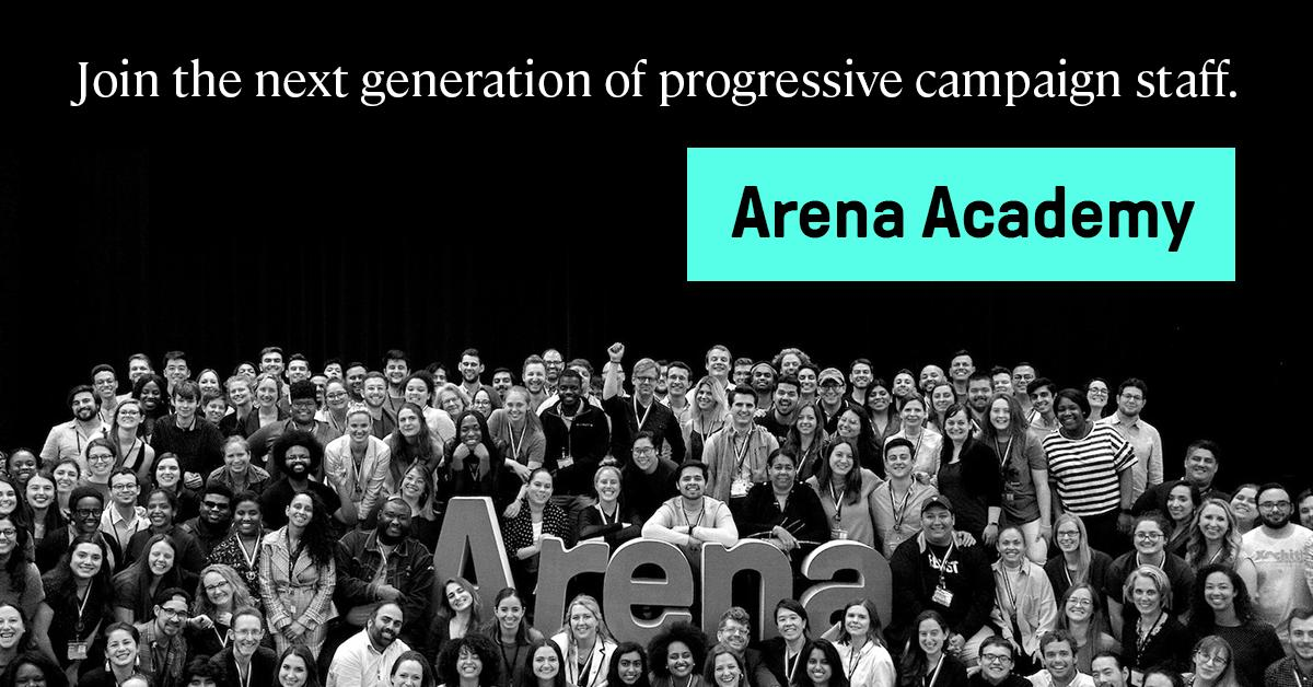 If you'd like to work on a progressive campaign but don't know where to start, @ArenaSummit's December #ArenaAcademy is for you. An @OnwardTogether partner, Arena is training the next generation of campaign leaders. Apply before tomorrow's deadline: https://t.co/dEu3k7WTcT https://t.co/Pm0RDBMscW