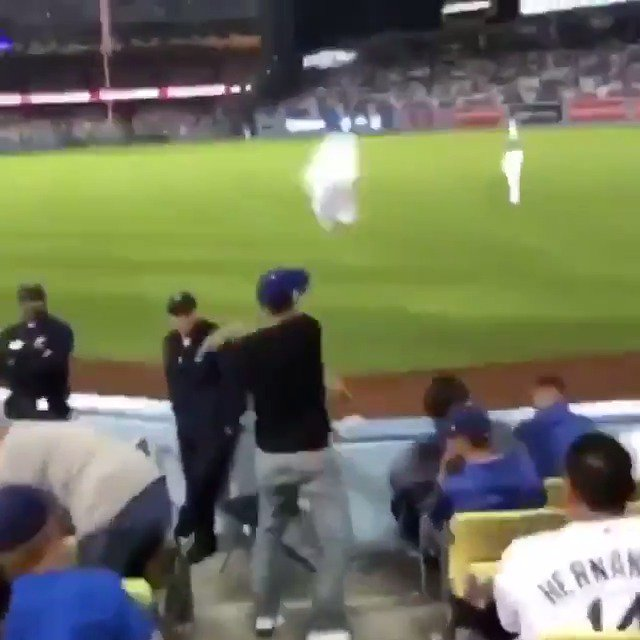 This Dodgers fan was so fed up, he flung his Kershaw jersey onto the field 💀  (via _thehoopgod, saljmenez/IG)