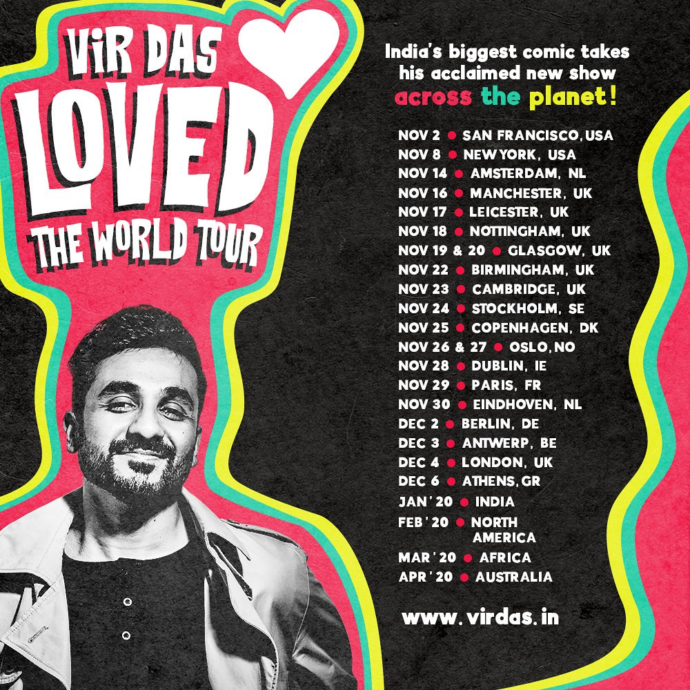 WORLD TOUR! If you wanna know where to find me in November and December...I'll be travelling the world...with a brand new show about love. #LovedTour Do a brown brother a good one and tell your friends 🙏Tickets: http://www.virdas.in/tour