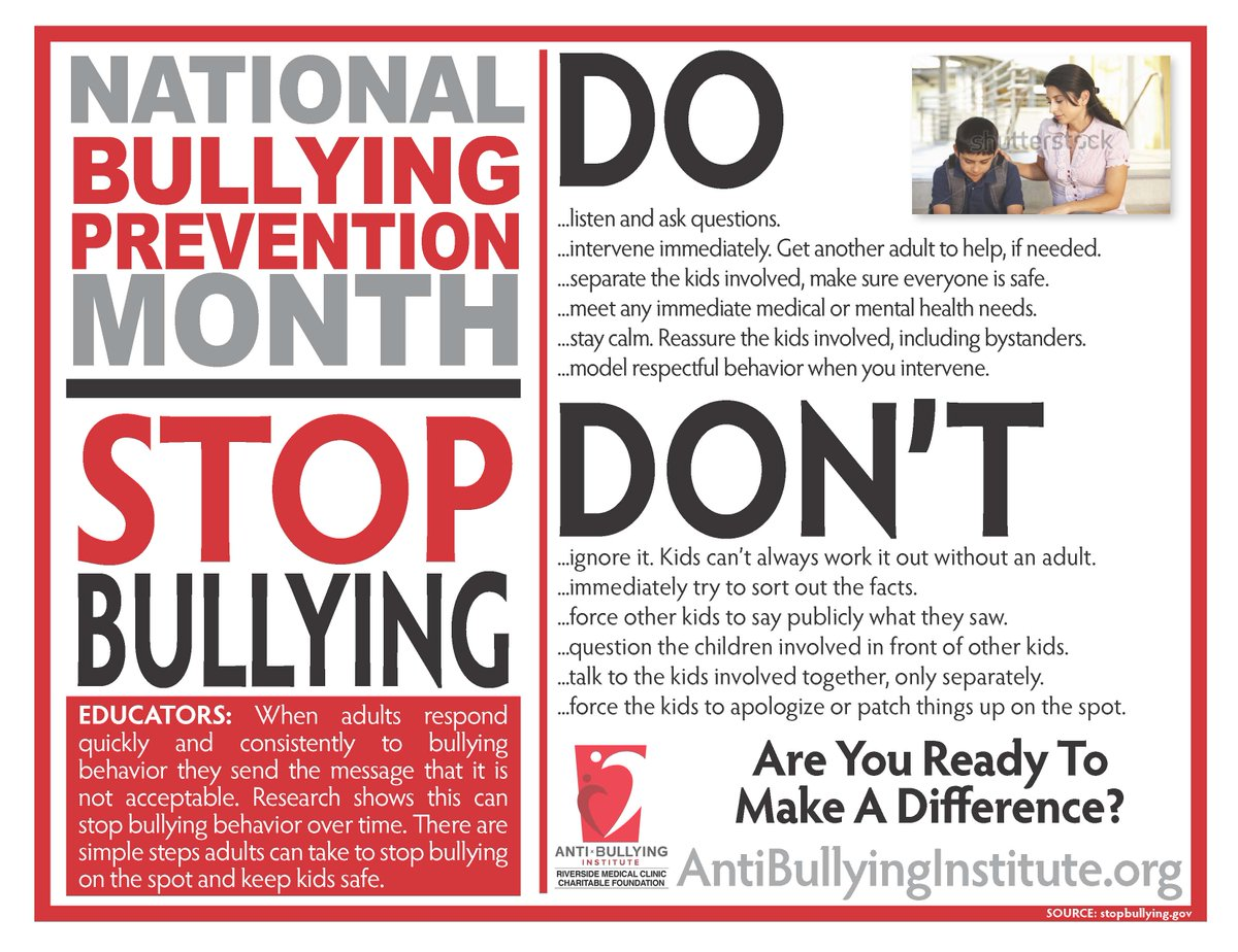 October is Bullying Prevention Month.  Child and adult, everyone deserves to be treated with respect.  Practice kindness. <a target='_blank' href='https://t.co/MT0m40pMlE'>https://t.co/MT0m40pMlE</a>