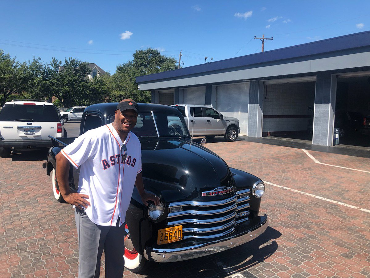 Today, I brought in my good luck prize '53 Chevy Classic' to bring home a Astros win!! Go 'Stros!!!!!