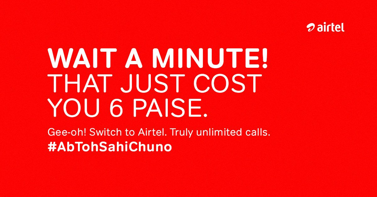 Unlimited calling means unlimited calling. No fine print. No hidden cost. Switch to Airtel. https://t.co/Xd7kpsF8ky #AbTohSahiChuno https://t.co/A58Py3JlnZ